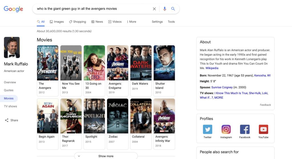 semantic search result